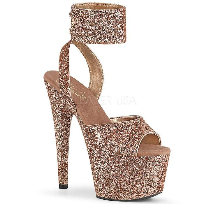 取寄 靴 PLEASER プリーザー サンダル 18cm ヒール ローズゴールド 大きいサイズあり 21.5 22 22.5 23 23.5 24 24.5 25 25.5 26 cm センチ