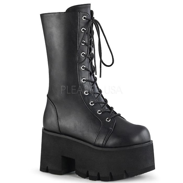取寄 靴 DEMONIA デモニア ショートブーツ 9cm ヒール 黒 ブラック ビーガンレザー 大きいサイズあり 22.5 23 23.5 24 24.5 25 25.5 26 26.5 27 27.5 28 cm センチ