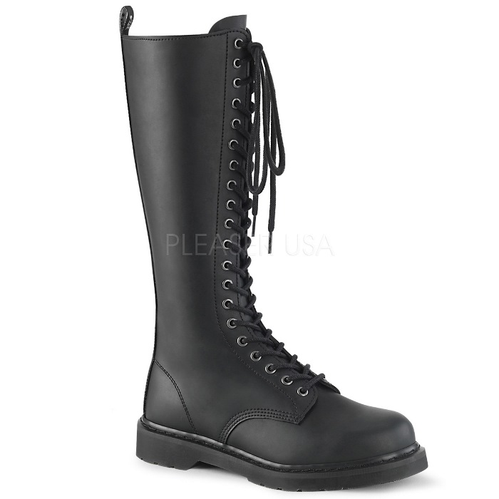 取寄せ靴 DEMONIA デモニア ロングブーツ メンズ 3cm ヒール 黒 ブラック ビーガンレザー 大きいサイズあり 22.5 23 23.5 24 24.5 25 25.5 26 26.5 27 27.5 28 28.5 29 29.5 30 30.5 31 31.5 32 cm センチ
