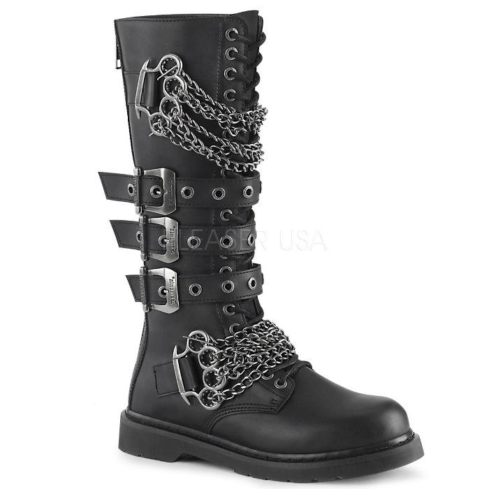 取寄 靴 DEMONIA デモニア ロングブーツ メンズ 3cm ヒール 黒 ブラック ビーガンレザー 大きいサイズあり 22.5 23 23.5 24 24.5 25 25.5 26 26.5 27 27.5 28 28.5 29 29.5 30 30.5 31 31.5 32 cm センチ