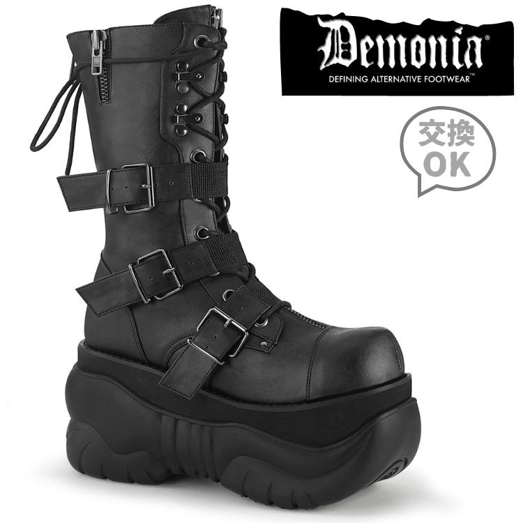 取寄 靴 DEMONIA デモニア ショートブーツ メンズ 黒 ブラック ビーガンレザー 大きいサイズあり 23 23.5 24 24.5 25 25.5 26 26.5 27 27.5 28 28.5 29 29.5 30 cm センチ