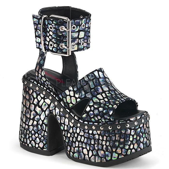 取寄せ靴 DEMONIA デモニア サンダル 12.5cm ヒール 黒 ブラック 銀 シルバー 大きいサイズあり 22.5 23 23.5 24 24.5 25 25.5 26 26.5 27 27.5 28 cm センチ