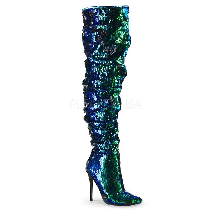 取寄 靴 PLEASER プリーザー ニーハイ サイハイ ブーツ 11.5cm ヒール グリーン スパンコール 大きいサイズあり 22.5 23 23.5 24 24.5 25 25.5 26 26.5 27 27.5 28 28.5 29 29.5 30 cm センチ