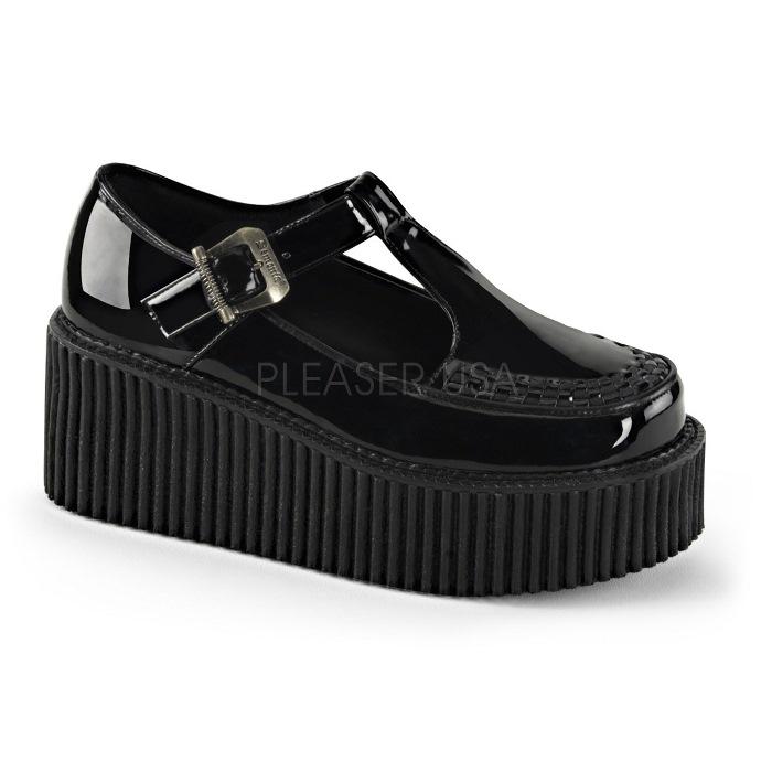取寄 靴 DEMONIA デモニア 厚底 パンプス 黒 ブラック エナメル 大きいサイズあり 22.5 23 23.5 24 24.5 25 25.5 26 26.5 27 cm センチ
