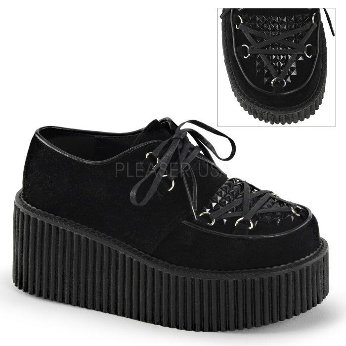 取寄 靴 DEMONIA デモニア 厚底 パンプス 黒 ブラック 大きいサイズあり 22.5 23 23.5 24 24.5 25 25.5 26 26.5 27 cm センチ