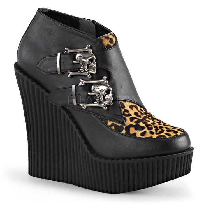 取寄 靴 DEMONIA デモニア 厚底 パンプス 黒 ブラック ヒョウ柄 大きいサイズあり 22 5 23 23 5 24 24 5 25 25 5 26 26 5 27 cm センチwXnOP08k