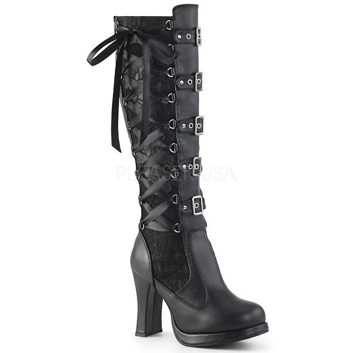 取寄 靴 DEMONIA デモニア ロングブーツ 10cm ヒール 黒 ブラック ビーガンレザー 大きいサイズあり 22.5 23 23.5 24 24.5 25 25.5 26 26.5 27 27.5 28 cm センチ