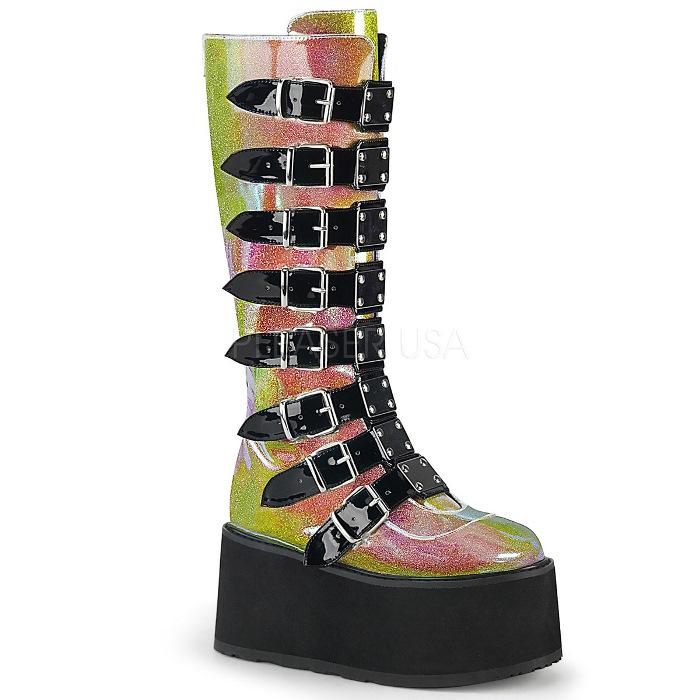 取寄 靴 DEMONIA デモニア ロングブーツ ピンク グリッター 大きいサイズあり 22.5 23 23.5 24 24.5 25 25.5 26 26.5 27 27.5 28 cm センチ