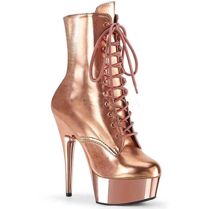 取寄 靴 PLEASER プリーザー ショートブーツ 15cm ヒール ローズゴールド 大きいサイズあり 21.5 22 22.5 23 23.5 24 24.5 25 25.5 26 26.5 27 27.5 28 28.5 29 29.5 30 cm センチ