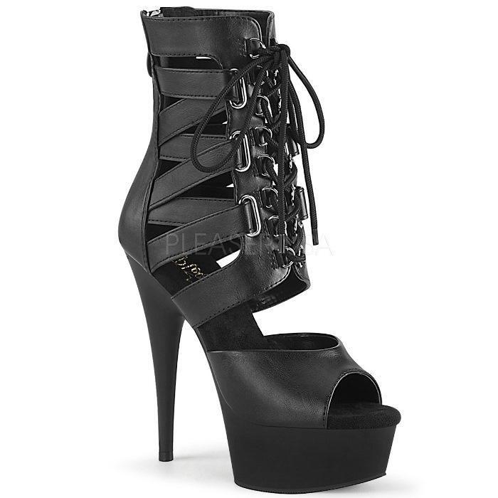 取寄 靴 PLEASER プリーザー ブーティ 15cm ヒール 黒 ブラック フェイクレザー 大きいサイズあり 21.5 22 22.5 23 23.5 24 24.5 25 25.5 26 26.5 27 cm センチ