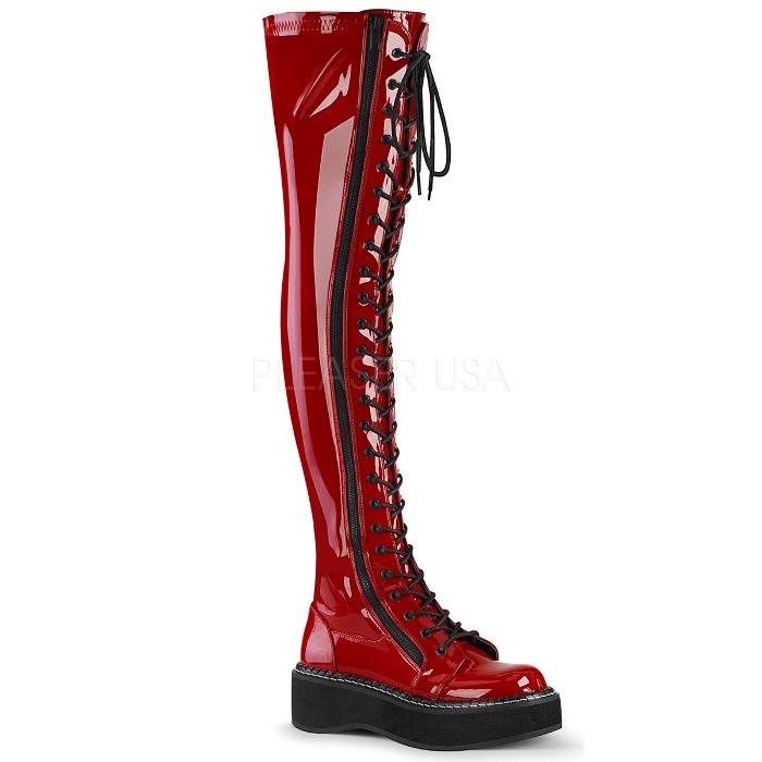 取寄 靴 DEMONIA デモニア ニーハイブーツ サイハイブーツ レディース メンズ 約5cm ストーム 厚底ブーツ ラウンドトゥ 編み上げ レースアップ サイドシッパー 赤 レッド エナメル 大きいサイズあり 23 23.5 24 24.5 25 25.5 26 26.5 27 27.5 28 28.5 29cm センチ