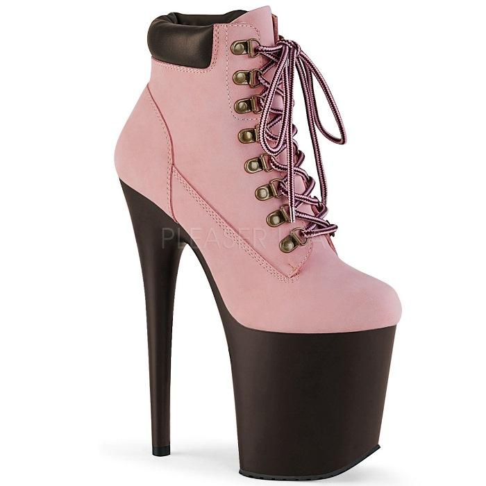 取寄せ靴 PLEASER プリーザー ブーティ 20cm ヒール ベビーピンク ヌバック 大きいサイズあり 21.5 22 22.5 23 23.5 24 24.5 25 25.5 26 cm センチ