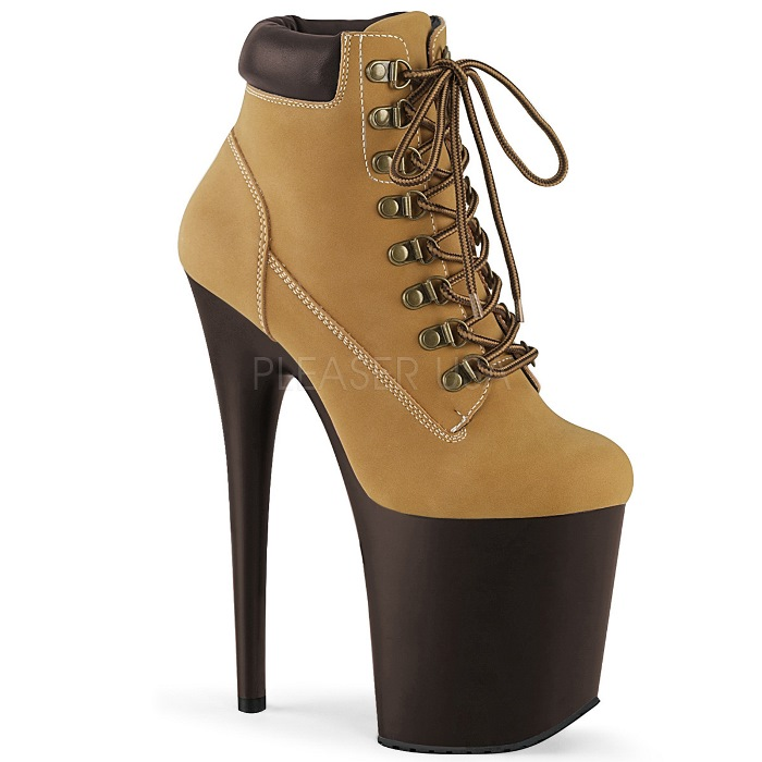 取寄 靴 PLEASER プリーザー ブーティ 20cm ヒール タン 茶 ブラウン 大きいサイズあり 21.5 22 22.5 23 23.5 24 24.5 25 25.5 26 cm センチ
