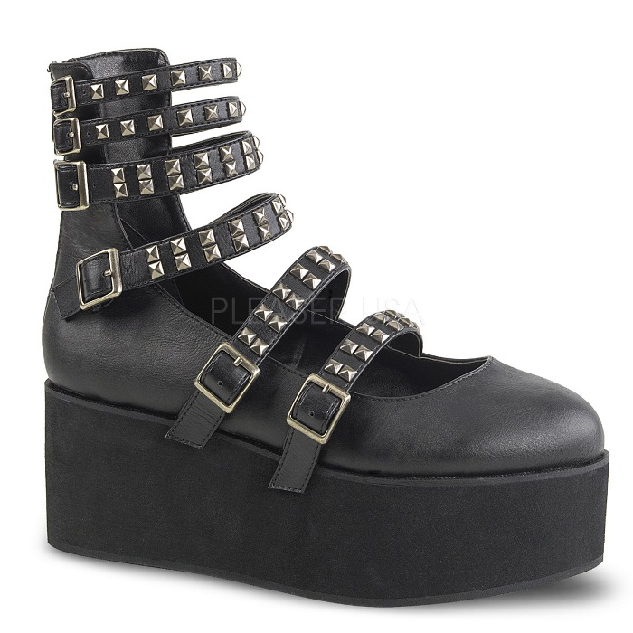 取寄せ靴 DEMONIA デモニア 厚底 シューズ 黒 ブラック ビーガンレザー 大きいサイズあり 22.5 23 23.5 24 24.5 25 25.5 26 26.5 27 cm センチ