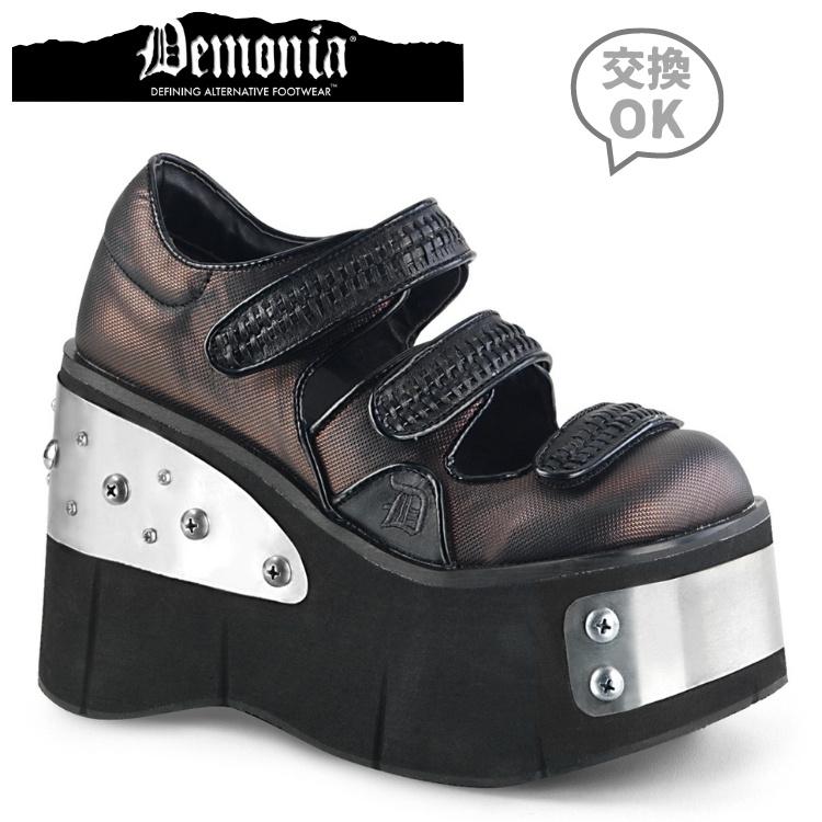 取寄 靴 DEMONIA デモニア 厚底 シューズ 黒 ブラック ピューター 大きいサイズあり 22.5 23 23.5 24 24.5 25 25.5 26 26.5 27 cm センチ