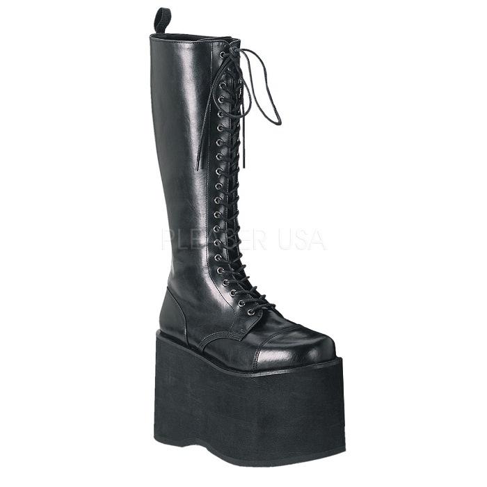 取寄 靴 DEMONIA デモニア ロングブーツ メンズ 黒 ブラック つや消し合皮 大きいサイズあり 22.5 23 23.5 24 24.5 25 25.5 26 26.5 27 27.5 28 28.5 29 29.5 30 cm センチ