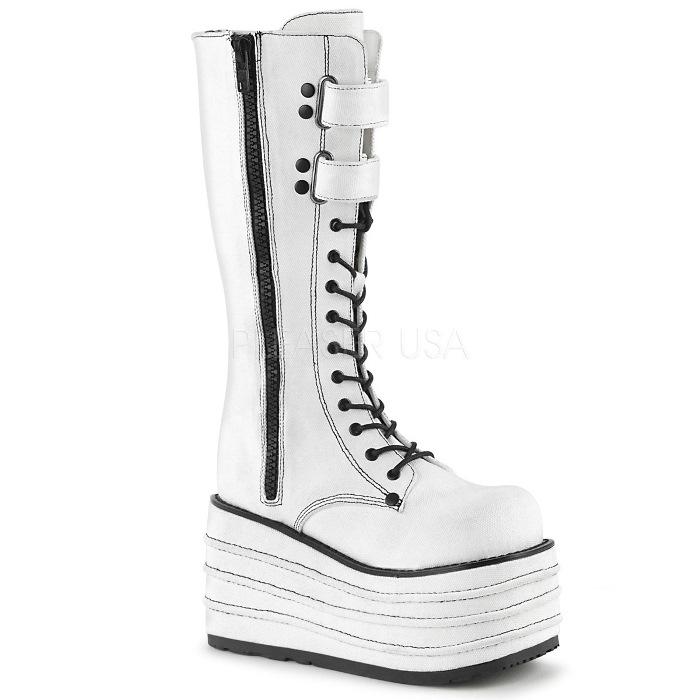 取寄 靴 DEMONIA デモニア ロングブーツ 白 ホワイト 大きいサイズあり 22.5 23 23.5 24 24.5 25 25.5 26 cm センチ
