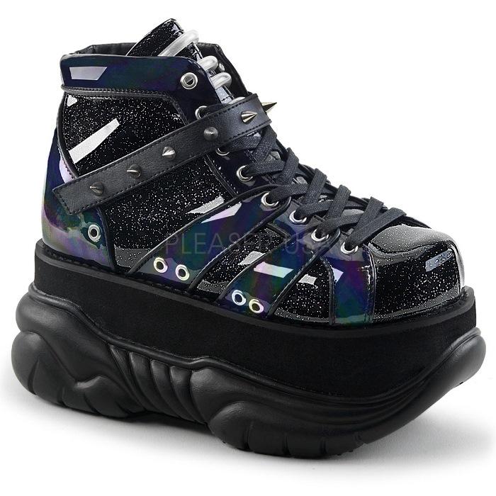 取寄 靴 DEMONIA デモニア ブーティ メンズ 黒 ブラック グリッター 大きいサイズあり 22.5 23 23.5 24 24.5 25 25.5 26 26.5 27 27.5 28 28.5 29 29.5 30 cm センチ