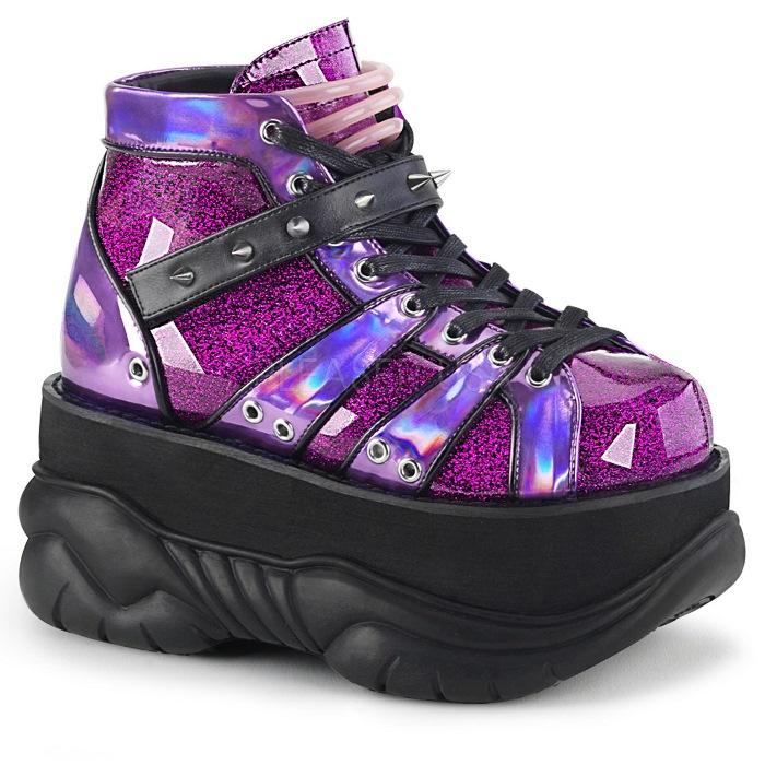 取寄 靴 DEMONIA デモニア ブーティ メンズ 紫 パープル グリッター 大きいサイズあり 22.5 23 23.5 24 24.5 25 25.5 26 26.5 27 27.5 28 28.5 29 29.5 30 cm センチ
