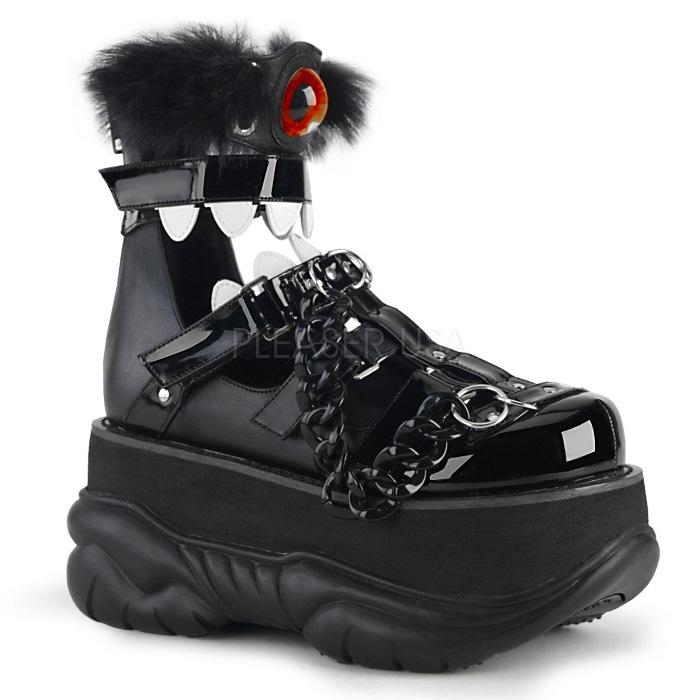取寄 靴 DEMONIA デモニア ブーツ サンダル メンズ 黒 ブラック エナメル 大きいサイズあり 22.5 23 23.5 24 24.5 25 25.5 26 26.5 27 27.5 28 28.5 29 29.5 30 cm センチ