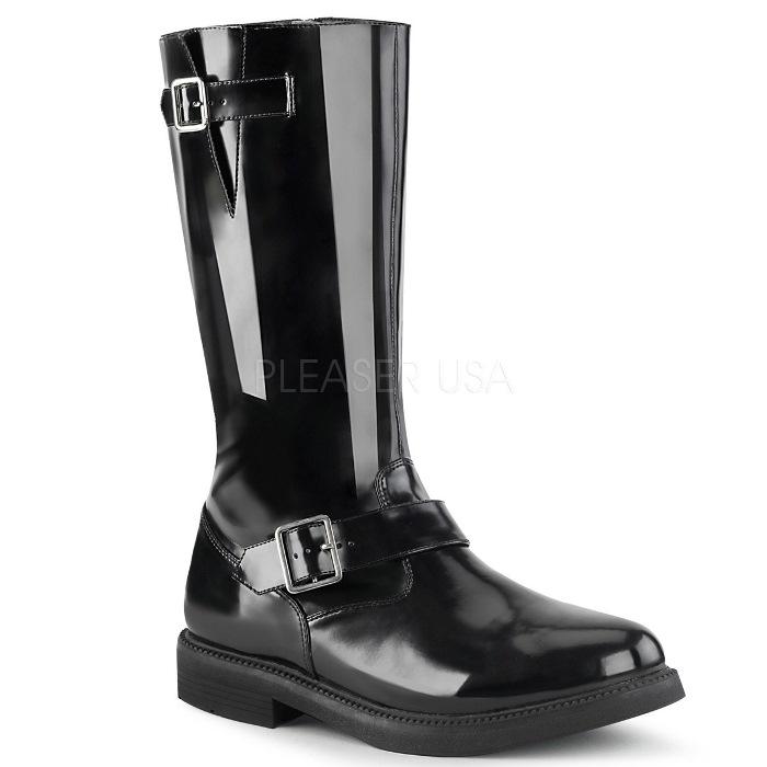 取寄 靴 FUNTASMA ファンタズマ ロングブーツ メンズ2.5cm ヒール 黒 ブラック つや消し合皮 大きいサイズあり 26 26.5 27 27.5 28 28.5 29 29.5 30 30.5 31 31.5 32 cm センチ