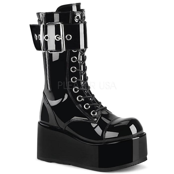 取寄 靴 DEMONIA デモニア ショートブーツ メンズ 黒 ブラック エナメル 大きいサイズあり 22.5 23 23.5 24 24.5 25 25.5 26 26.5 27 27.5 28 28.5 29 29.5 30 cm センチ