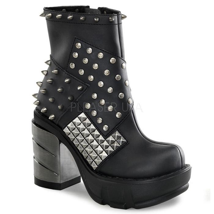 取寄 靴 DEMONIA デモニア ブーティ 9cm ヒール 黒 ブラック つや消し合皮 大きいサイズあり 22.5 23 23.5 24 24.5 25 25.5 26 26.5 27 27.5 28 cm センチ