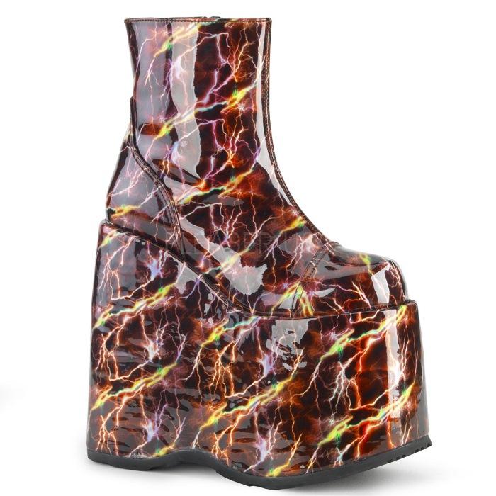 取寄せ靴 DEMONIA デモニア ショートブーツ バーガンディ ホログラム 大きいサイズあり 22.5 23 23.5 24 24.5 25 25.5 26 26.5 27 27.5 28 cm センチ