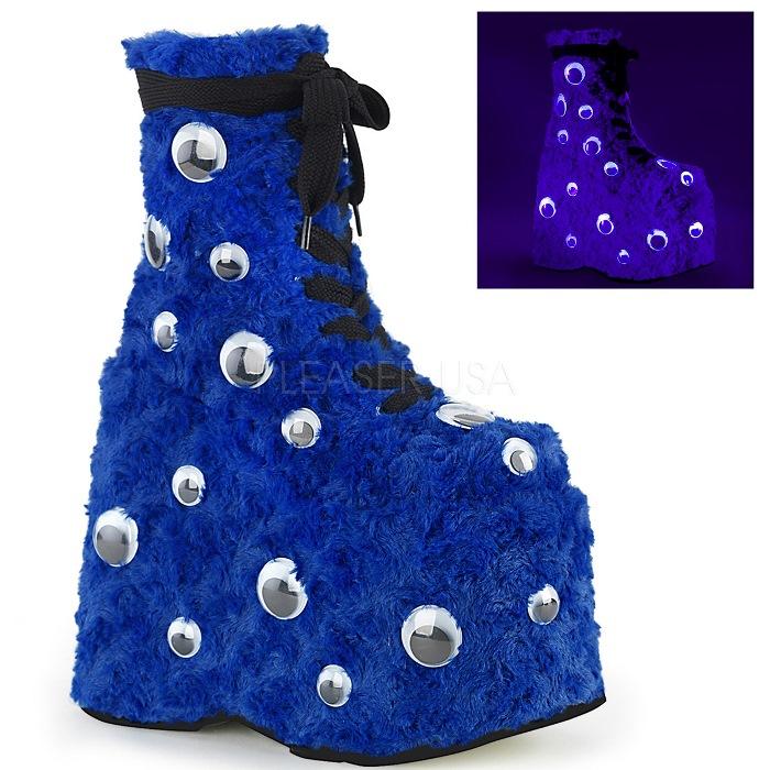 取寄 靴 DEMONIA デモニア ショートブーツ 青 ブルー ファー 大きいサイズあり 22.5 23 23.5 24 24.5 25 25.5 26 26.5 27 27.5 28 cm センチ