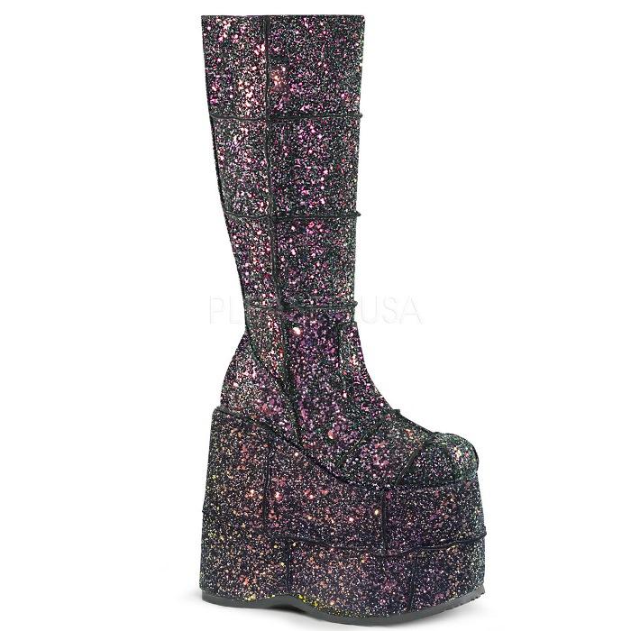 取寄 靴 DEMONIA デモニア ロングブーツ メンズ 黒 ブラック マルチカラー 大きいサイズあり 22.5 23 23.5 24 24.5 25 25.5 26 26.5 27 27.5 28 28.5 29 29.5 30 30.5 31 cm センチ