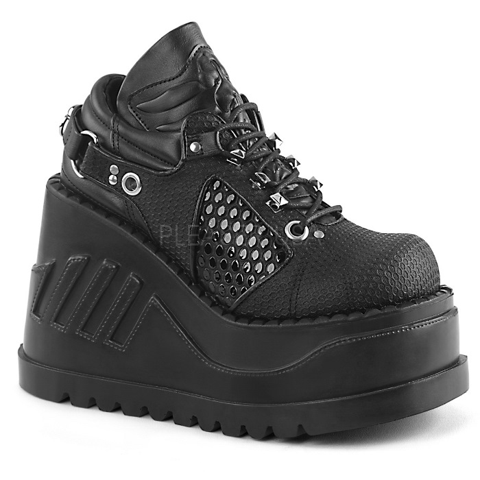 取寄 靴 DEMONIA デモニア パンプス 黒 ブラック ビーガンレザー 大きいサイズあり 22.5 23 23.5 24 24.5 25 25.5 26 26.5 27 cm センチ