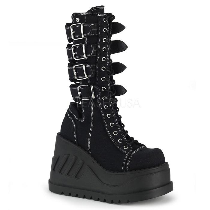取寄 靴 DEMONIA デモニア ショートブーツ 黒 ブラック 大きいサイズあり 22.5 23 23.5 24 24.5 25 25.5 26 26.5 27 cm センチ