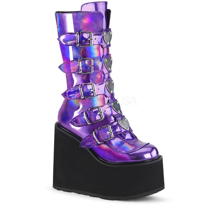 取寄せ靴 DEMONIA デモニア ショートブーツ 紫 パープル グリッター 大きいサイズあり 22.5 23 23.5 24 24.5 25 25.5 26 26.5 27 27.5 28 cm センチ