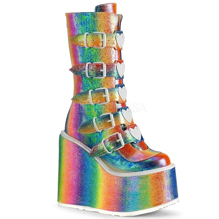 取寄 靴 DEMONIA デモニア ショートブーツ レインボー 大きいサイズあり 22.5 23 23.5 24 24.5 25 25.5 26 26.5 27 27.5 28 cm センチ