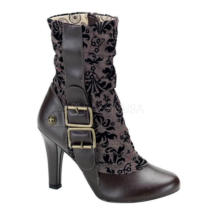 取寄 靴 DEMONIA デモニア ショートブーツ 10cm ヒール 茶 ブラウン つや消し合皮 大きいサイズあり 22.5 23 23.5 24 24.5 25 25.5 26 26.5 27 27.5 28 cm センチ