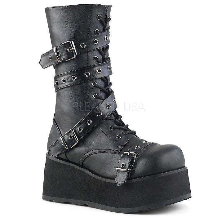取寄 靴 DEMONIA デモニア ショートブーツ メンズ 黒 ブラック つや消し合皮 大きいサイズあり 22.5 23 23.5 24 24.5 25 25.5 26 26.5 27 27.5 28 28.5 29 29.5 30 30.5 31 cm センチ