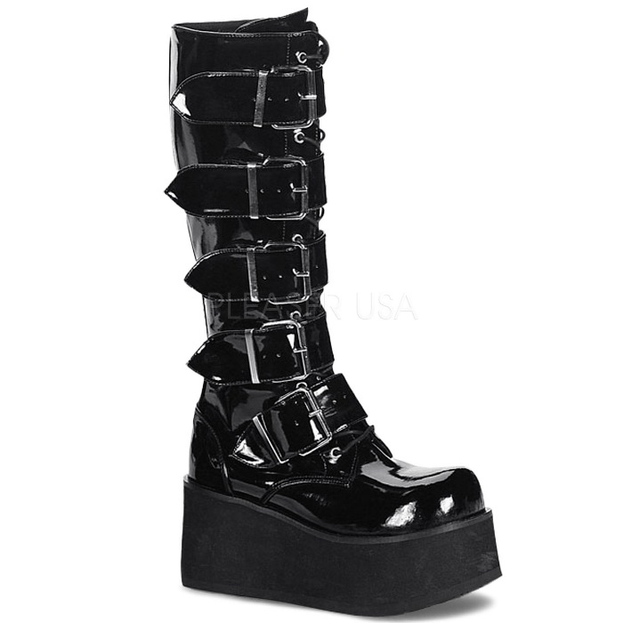 取寄 靴 DEMONIA デモニア ロングブーツ メンズ 黒 ブラック エナメル 大きいサイズあり 22.5 23 23.5 24 24.5 25 25.5 26 26.5 27 27.5 28 28.5 29 29.5 30 30.5 31 cm センチ
