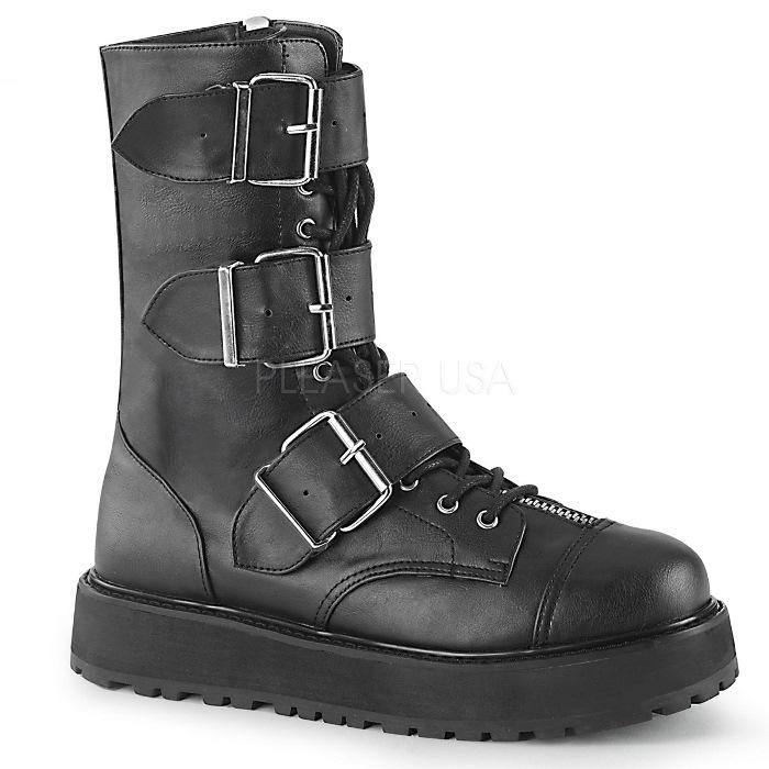 取寄せ靴 DEMONIA デモニア ショートブーツ メンズ 黒 ブラック ビーガンレザー 大きいサイズあり 22.5 23 23.5 24 24.5 25 25.5 26 26.5 27 27.5 28 28.5 29 29.5 30 cm センチ