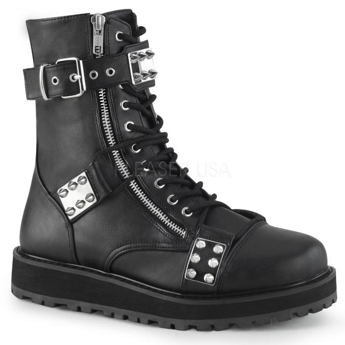 取寄 靴 DEMONIA デモニア ショートブーツ メンズ 黒 ブラック ビーガンレザー 大きいサイズあり 22.5 23 23.5 24 24.5 25 25.5 26 26.5 27 27.5 28 28.5 29 29.5 30 cm センチ
