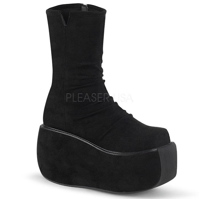 取寄 靴 DEMONIA デモニア ショートブーツ 黒 ブラック 大きいサイズあり 22.5 23 23.5 24 24.5 25 25.5 26 26.5 27 27.5 28 cm センチ