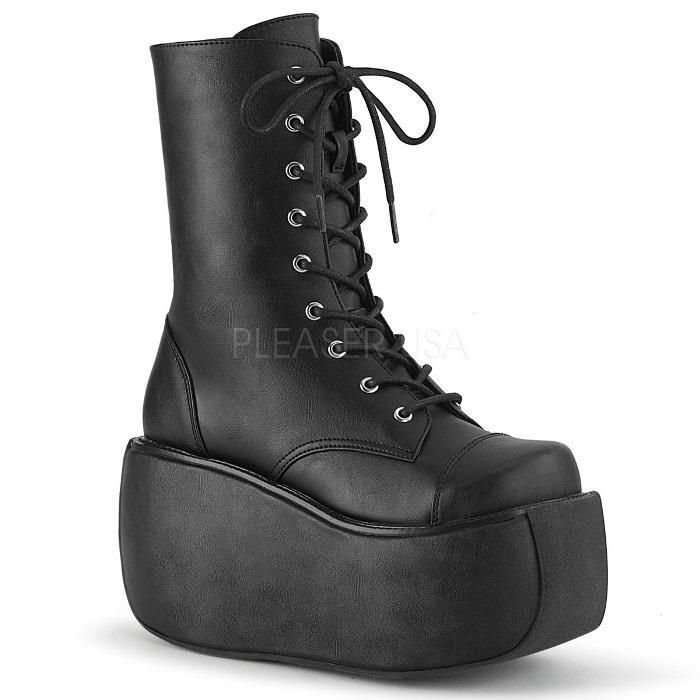 取寄せ靴 DEMONIA デモニア ショートブーツ 黒 ブラック ビーガンレザー 大きいサイズあり 22.5 23 23.5 24 24.5 25 25.5 26 26.5 27 27.5 28 cm センチ