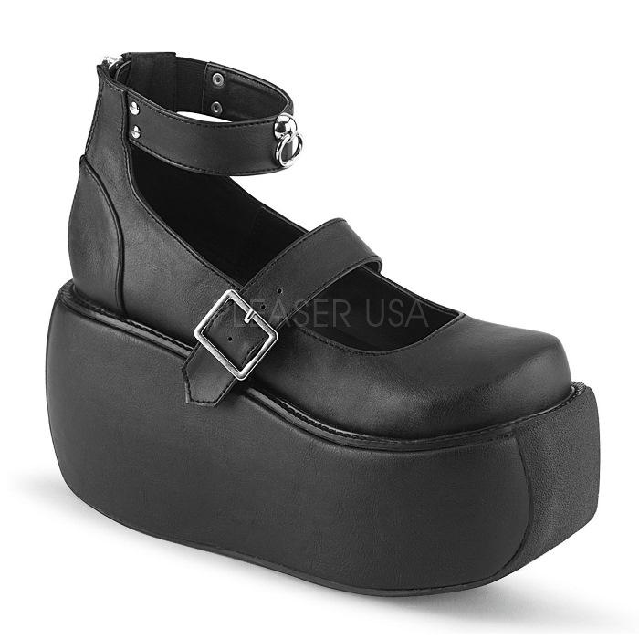 取寄 靴 DEMONIA デモニア 厚底 シューズ 黒 ブラック ビーガンレザー 大きいサイズあり 22.5 23 23.5 24 24.5 25 25.5 26 26.5 27 27.5 28 cm センチ