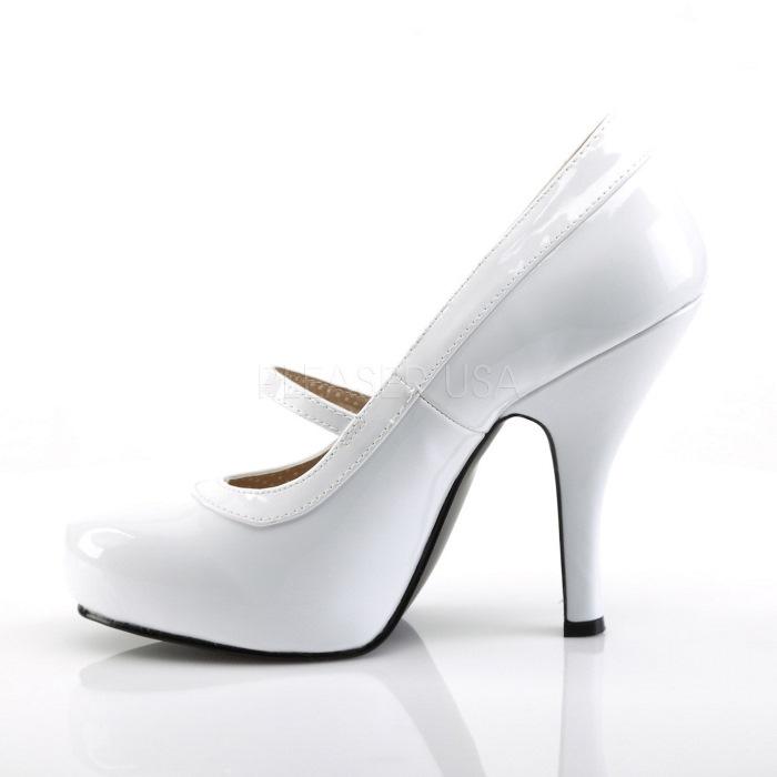 取寄 靴 送料無料 甲ベルト 厚底 パンプス 11 5cmヒール 白 ホワイト エナメル 大きいサイズあり イベント 仮装 女装 男装 パーティハロウィン コスプレkXTiOPZu