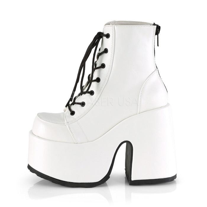 取寄 靴 DEMONIA デモニア ショートブーツ 12 5cm ヒール 白 ホワイト ビーガンレザー 大きいサイズあり 22 5 23 23 5 24 24 5 25 25 5 26 26 5 27 27 5 28 cm センチkTZuOiXP