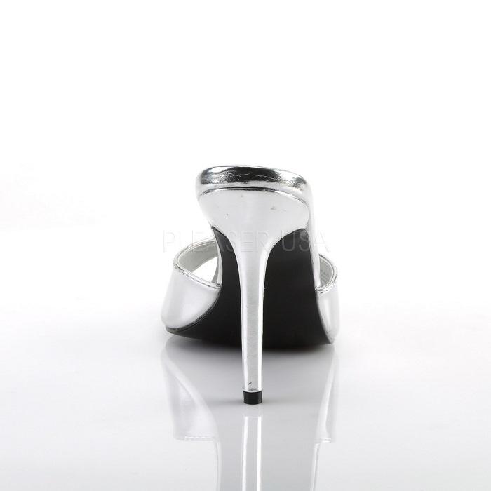 取寄 靴 PLEASER プリーザー 薄厚底ミュールサンダル レディース メンズ オープントゥ 10cm ピンヒール 銀 シルバー つや消し 歩きやすい 大きいサイズあり イベント 仮装 女装 男装 パーティー 春 夏 秋 冬 コスプレA4R3L5j