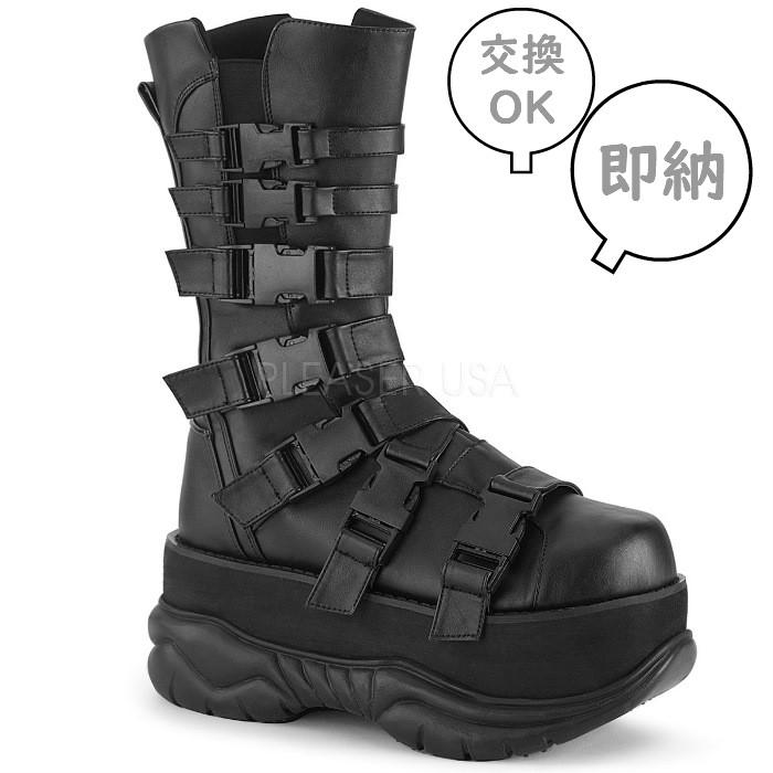 即納 靴 DEMONIA デモニア 厚底ショートブーツ メンズ プレーントゥ 7.5cm 厚底 黒 ブラック つや消し バックル ストラップ ベルト ジッパー 大きいサイズあり V系 原宿系 パンク ビジュアル系 22.5 23 23.5 24 24.5 25 25.5 26 26.5 27 27.5 28 28.5 29 29.5 30 cm センチ
