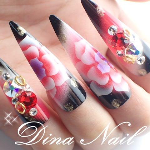 Dinanail Japanese Air Rose Art Design Nail Tip With Long Nail