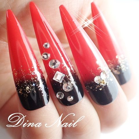 Japanese nail tip ☆ gradation bassswarojuerry art chip favor Quinceanera ☆  kimono ☆ kimono ☆ with ☆☆ long nails nail long with nail ☆ click on nail ☆