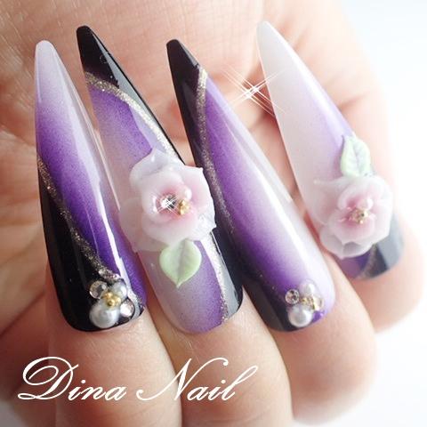 Dinanail Japanese Style Nail Extension Flower Design Nail Tip Long