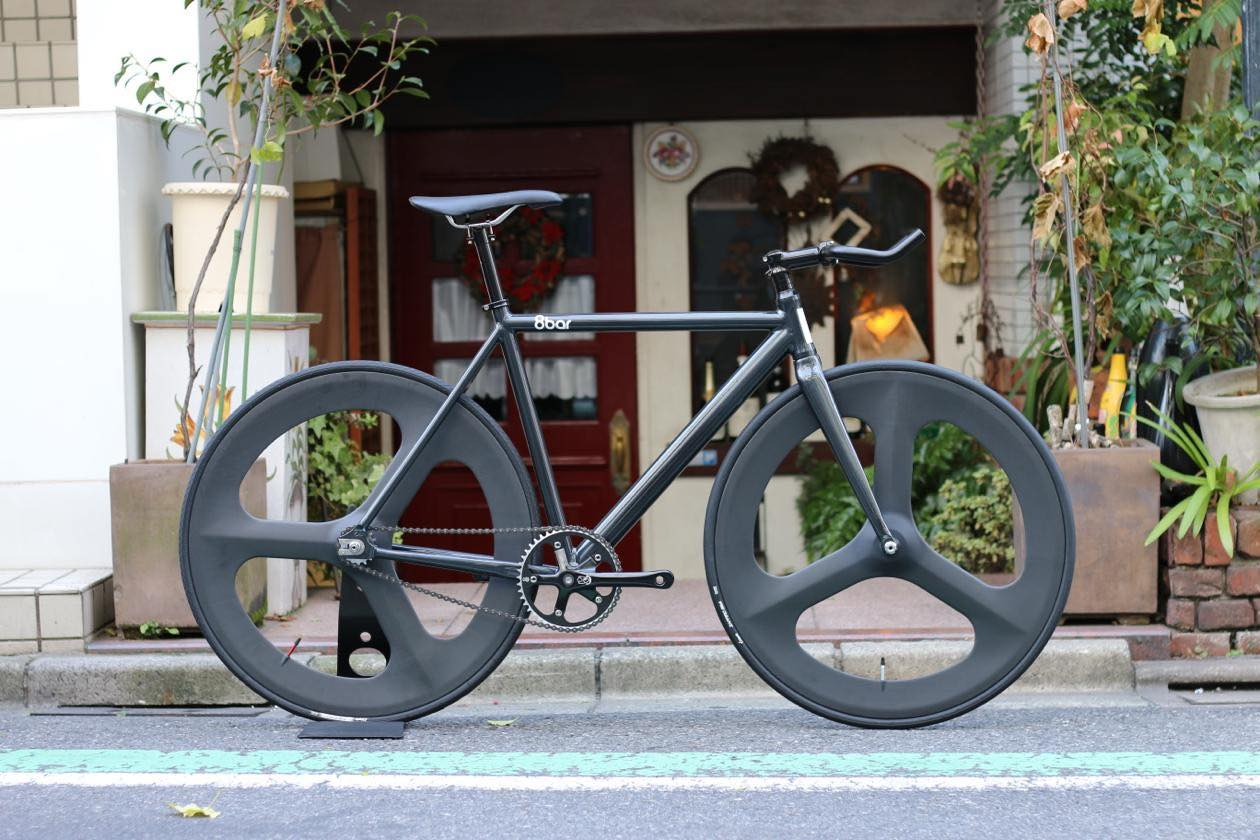 ピストバイク 完成車 8bar bikes FHAIN V1 IRON BLACK Front & Rear DINER Carbon 3spoke Custom